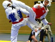 World Taekwondo Federation sparring match  Photo by: Stefan Pettersson, Wikimedia Commons