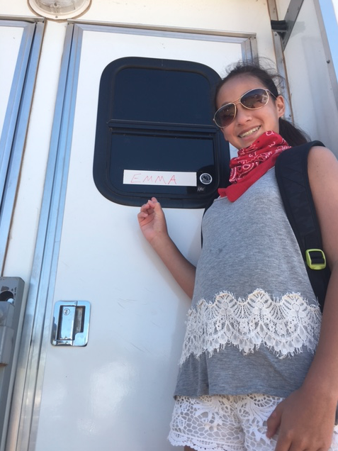 Emma in front her trailer.  Photo credit: Michelle Teo