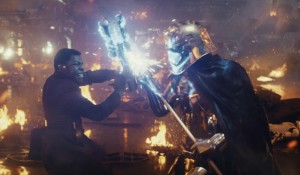 John Boyega faces off against Gwendoline Christie in this still from Star Wars: The Last Jedi