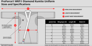 martial arts uniform size chart